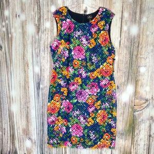 Worthington lace overlay floral dress size 16